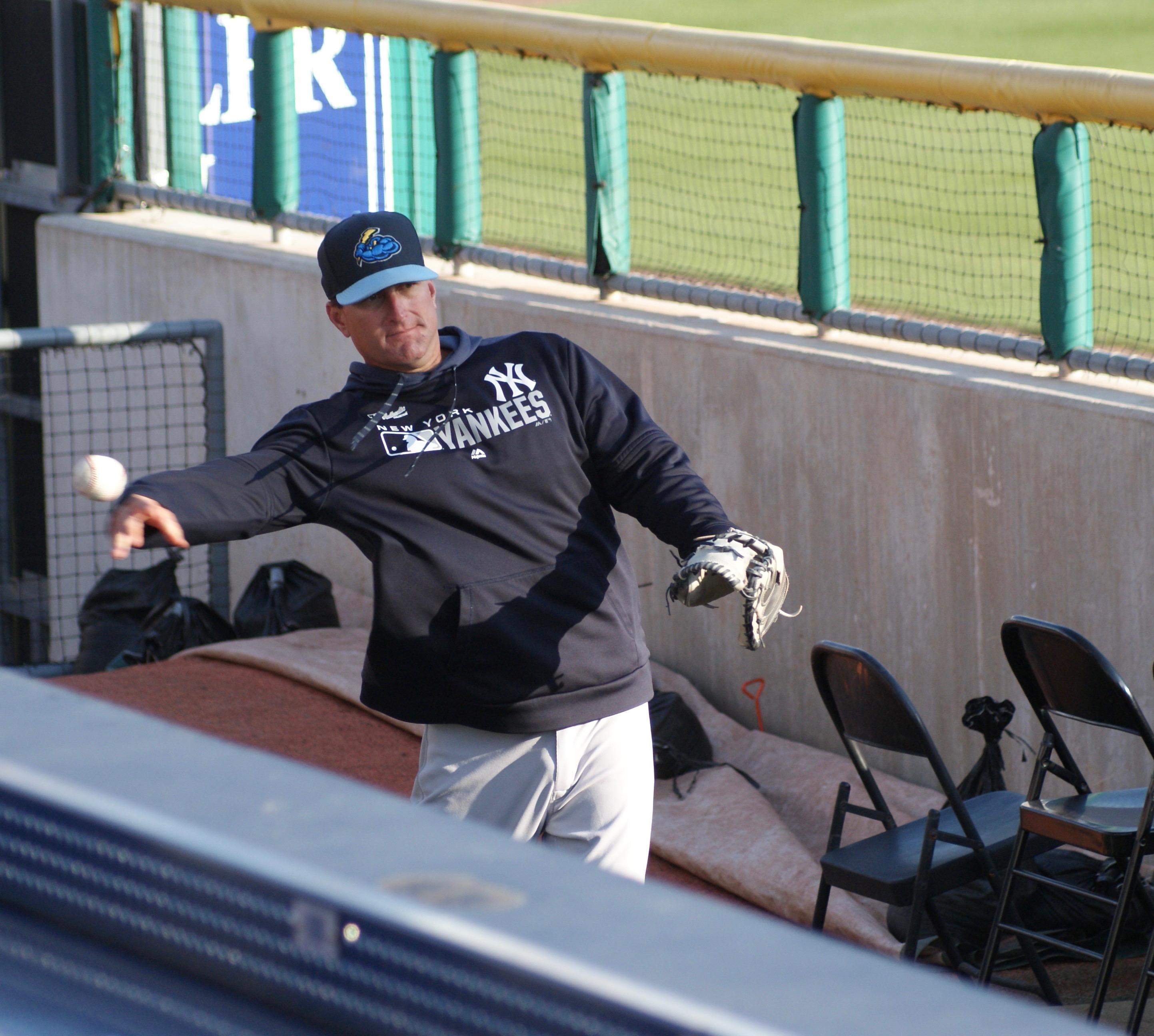 Jason Phillips in the bullpen
